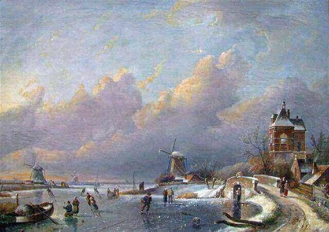 Charles Leickert, ijs, winterlandschap, luchten