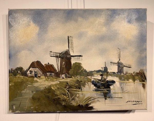 Jan Kelderman, molens, vaart, werf, erf, landschap met wolken