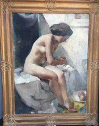 Jos Rovers, Schilderij, olieverf op doek, lichtval, zittend naakt, schaduw