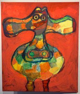 Koning, kippen schilderijen, koeien schilderijen,  schilderijen dieren