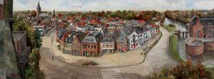 Panorama van Woerden met Atelier voor Restauratie en inlijsten 'Oude Rijn'