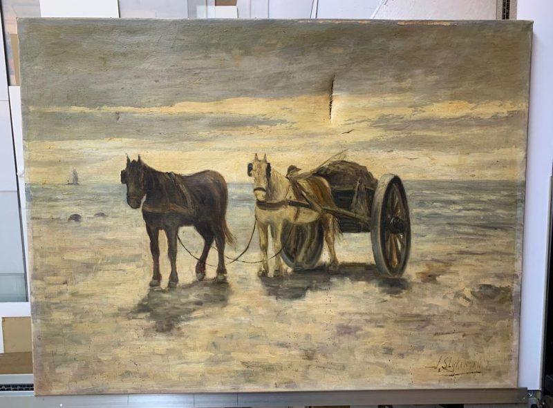 restaureren van een schilderij - winterlandschap