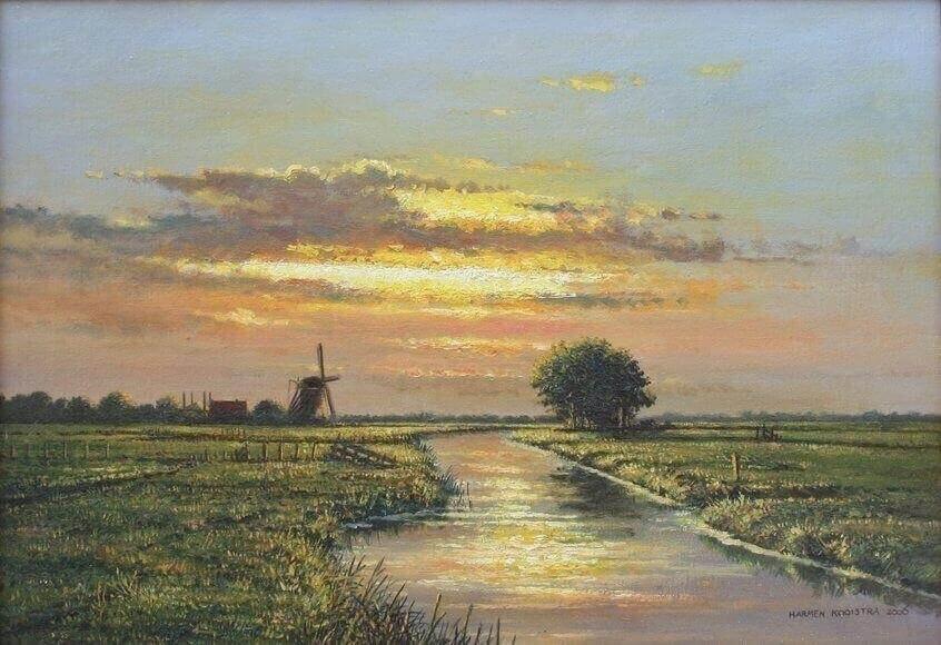 Harman Kooistra, landschap, luchten, wolken, molen