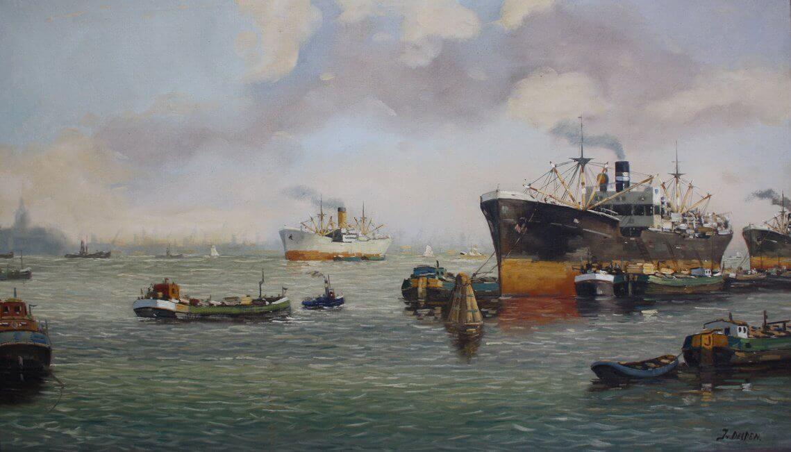 havengezicht, olieverf, Rotterdam, schepen