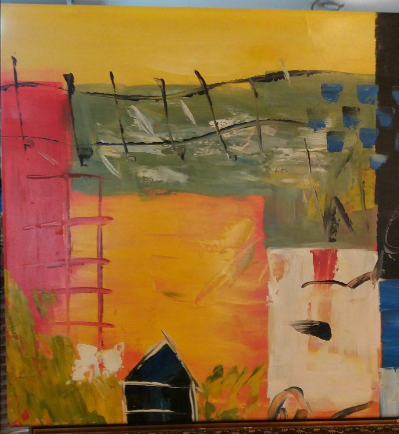 Abstract landschap met Oranje veld en zwart huisje