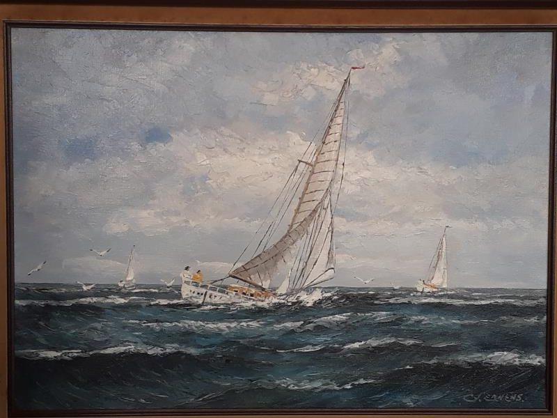 Zee, zeilschip, wolken, wolkenlucht, storm