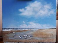 Dronkert, zee schilderij, blauwe luchten,