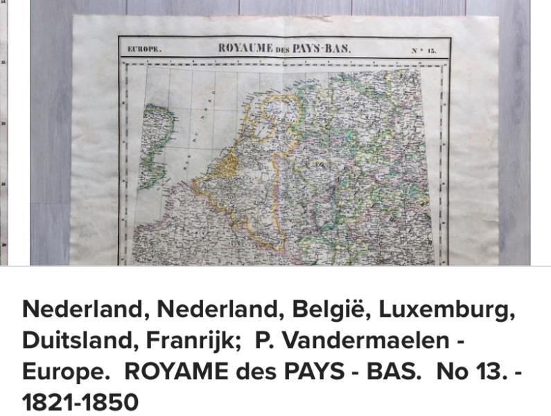 Getekende landkaart uit de 17e eeurw van Nederland en Belgie