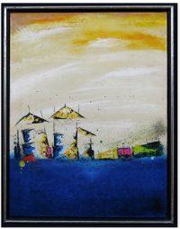 Landschap schilderij - en de zee 2