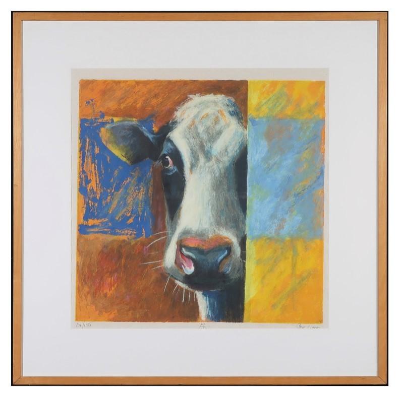 Theo Onnes Zeefdruk, koe, platteland, boerderij, polder, weiland