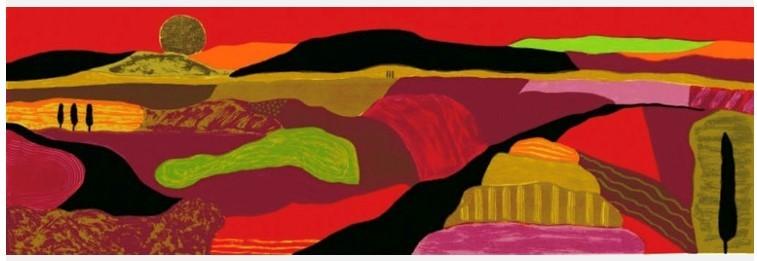 landschap Bootje in vaart een impressie in kleur