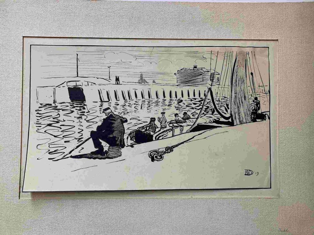Dirk Nijland, havengezicht, visser, tekening